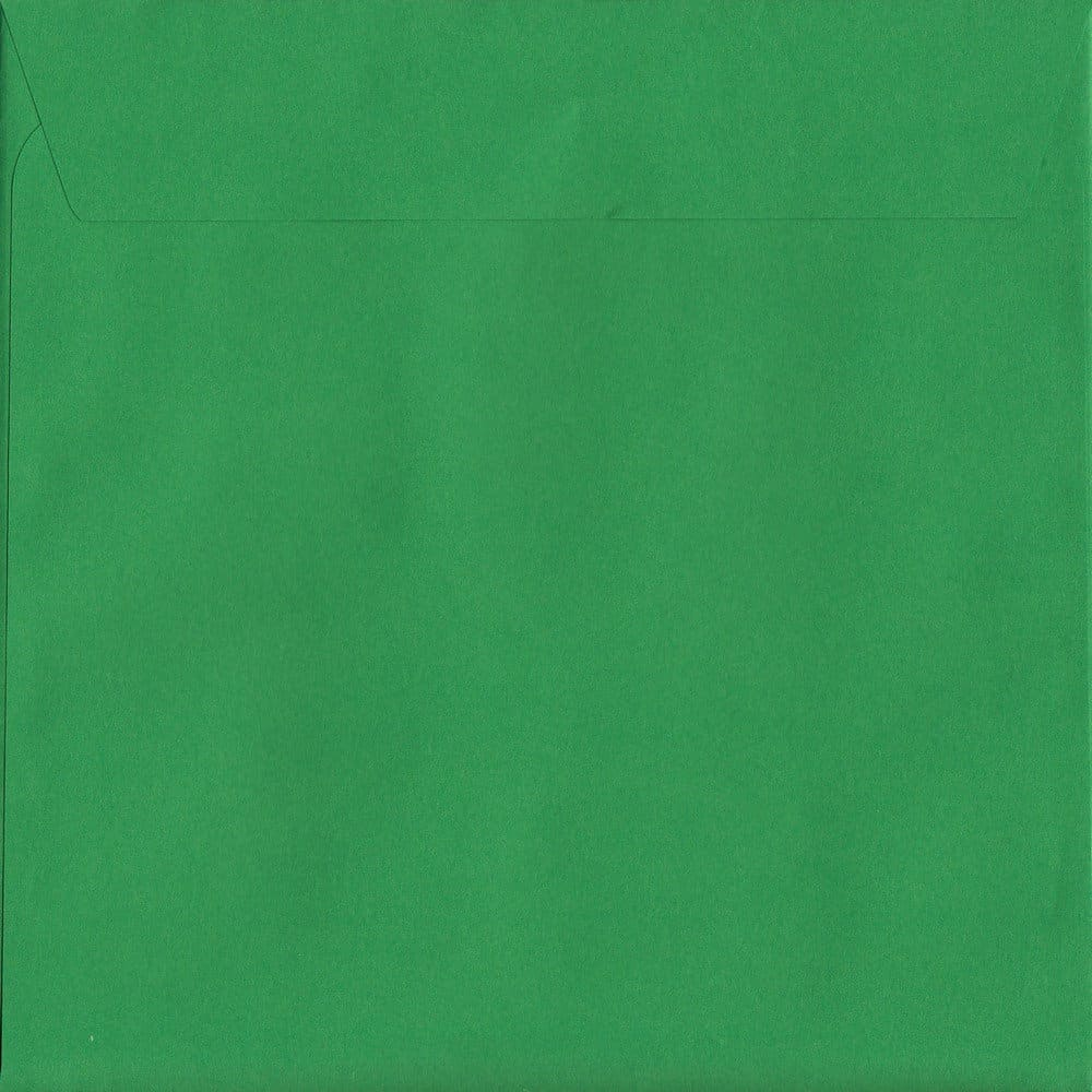 50 Large Square Green Envelopes. Holly Green. 220mm x 220mm. 120gsm paper. Peel/Seal Flap.