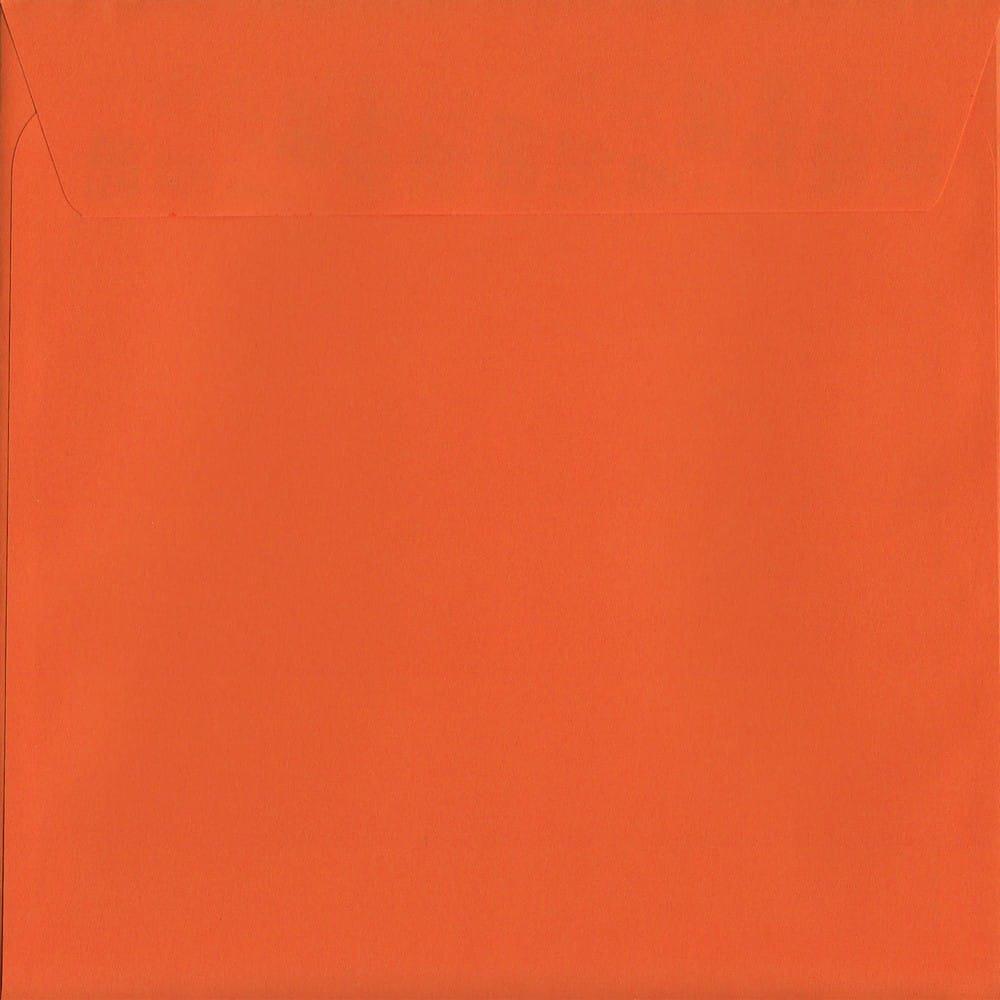 50 Large Square Orange Envelopes. Sunset Orange. 220mm x 220mm. 120gsm paper. Peel/Seal Flap.