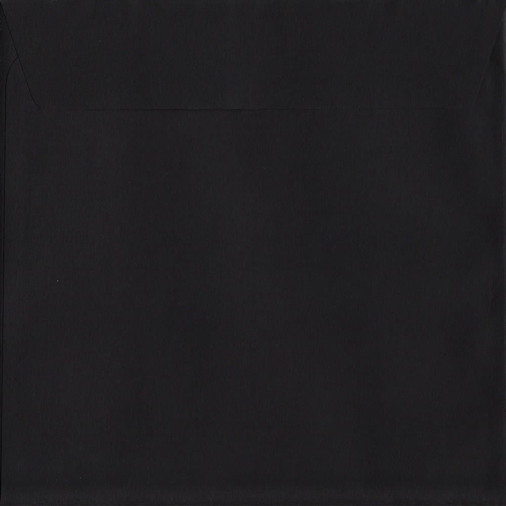 100 Square Black Envelopes. Luxury Black. 160mm x 160mm. 120gsm paper. Peel/Seal Flap.