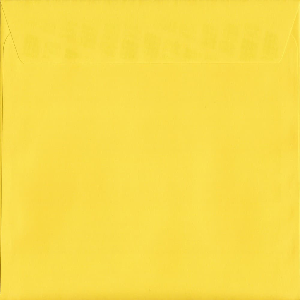 100 Square Yellow Envelopes. Canary Yellow. 160mm x 160mm. 120gsm paper. Peel/Seal Flap.