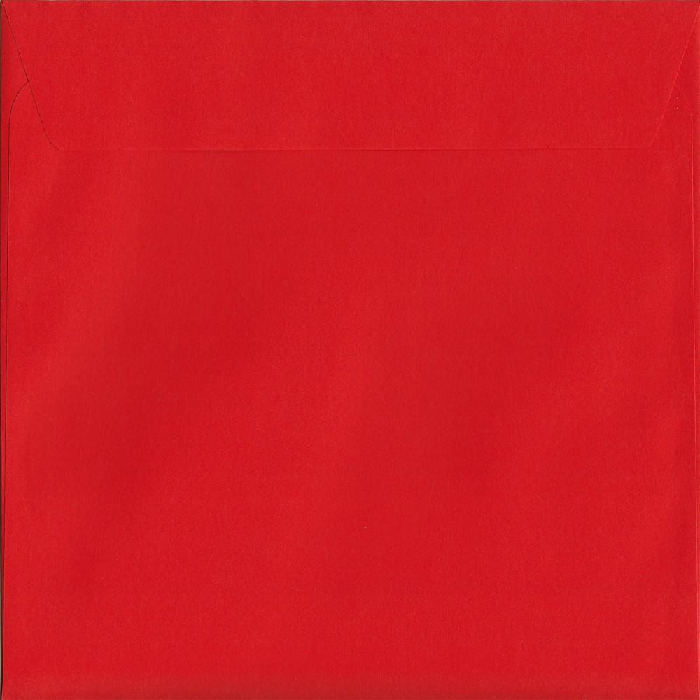 100 Square Red Envelopes. Pillar Box Red. 160mm x 160mm. 120gsm paper. Peel/Seal Flap.