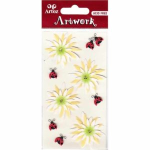 Flowers Ladybirds Craft Embellishment By Artoz