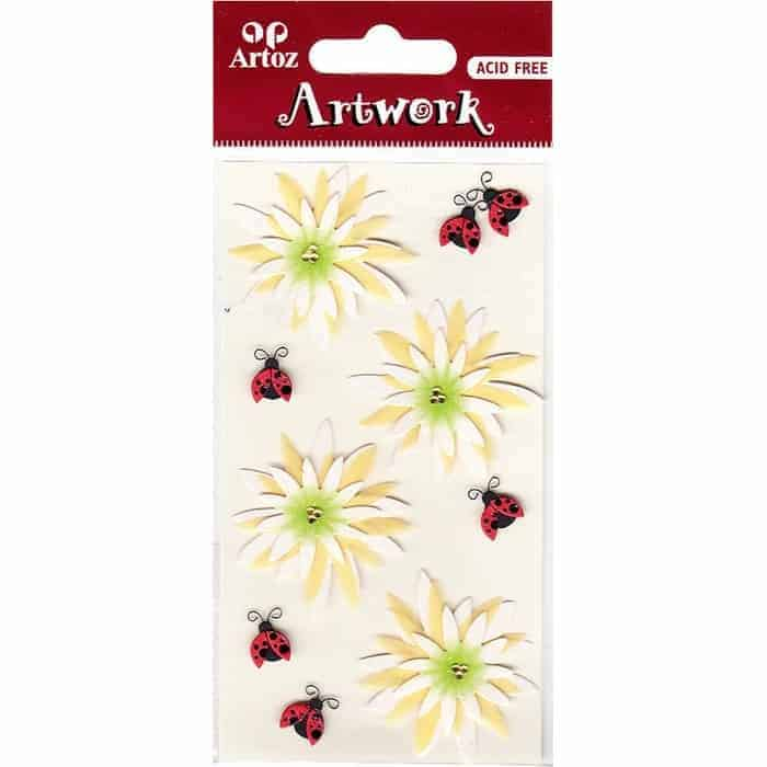 Flowers Ladybirds Craft Embellishment By Artoz