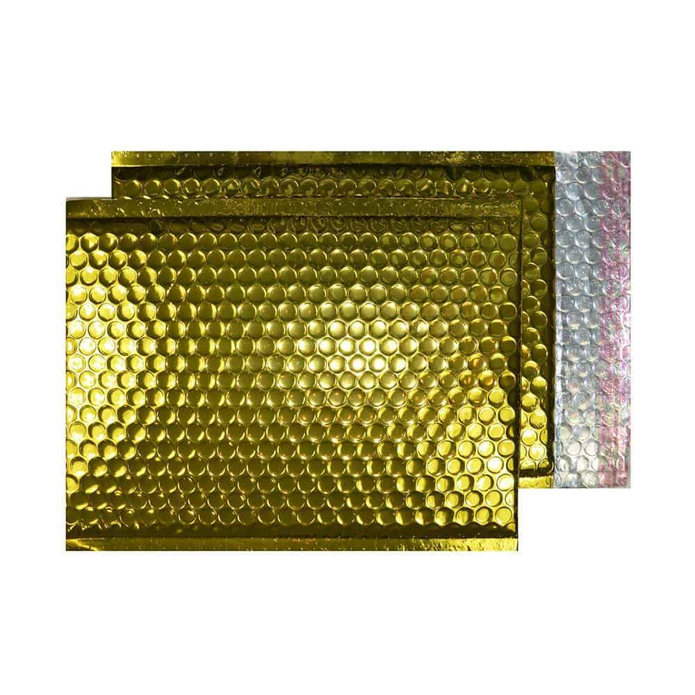 Glamour Gold Gloss 250mm x 180mm Bubble Lined Envelopes (Box Of 100)