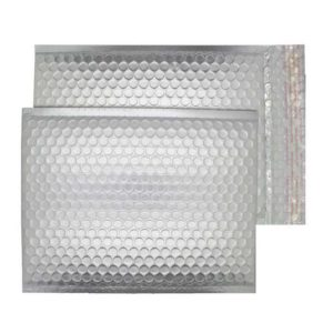 Brushed Chrome Matt 250mm x 180mm Bubble Lined Envelopes (Box Of 100)