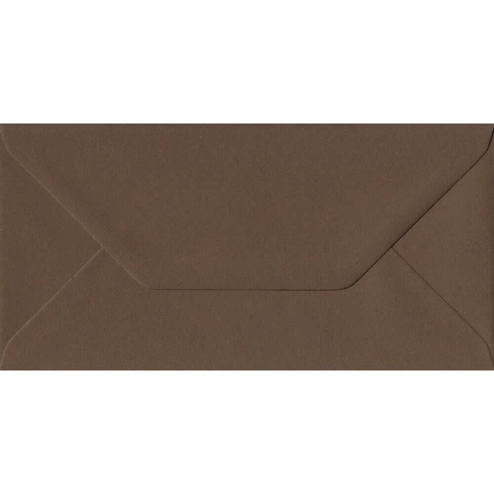 Chocolate Brown 110mm x 220mm 100gsm Gummed DL/Tri-Fold A4 Sized Envelope