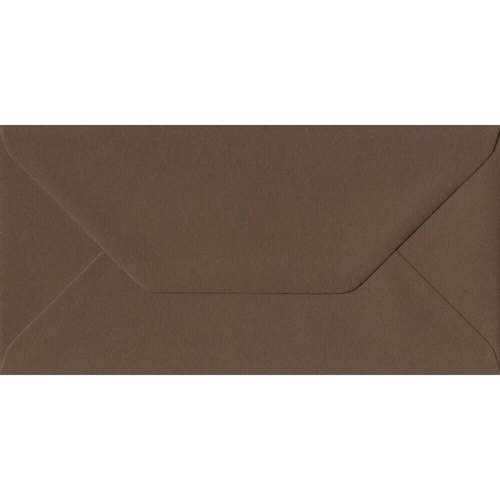 100 DL Brown Envelopes. Chocolate Brown. 110mm x 220mm. 100gsm paper. Gummed Flap.