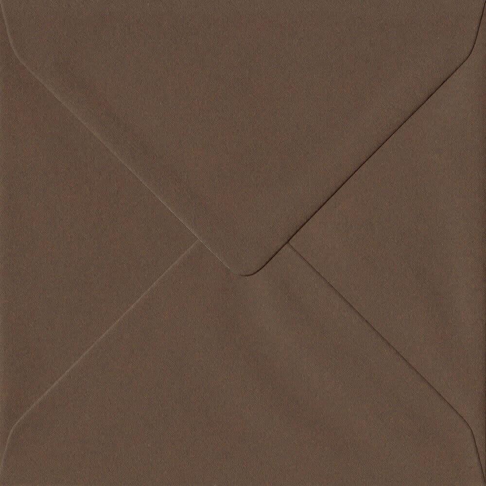 100 Square Brown Envelopes. Chocolate Brown. 155mm x 155mm. 100gsm paper. Gummed Flap.