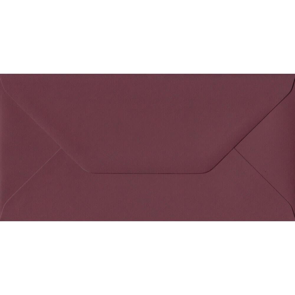 100 DL Red Envelopes. Deep Bordeaux Red. 110mm x 220mm. 120gsm paper. Gummed Flap.