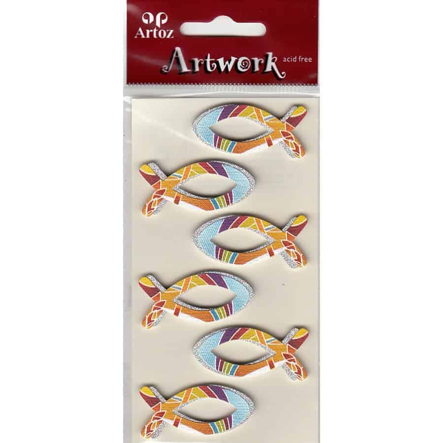Rainbow Christian Fish Symbol Craft Embellishment By Artoz