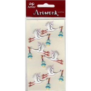 Stork With Babys Dummy Craft Embellishment By Artoz