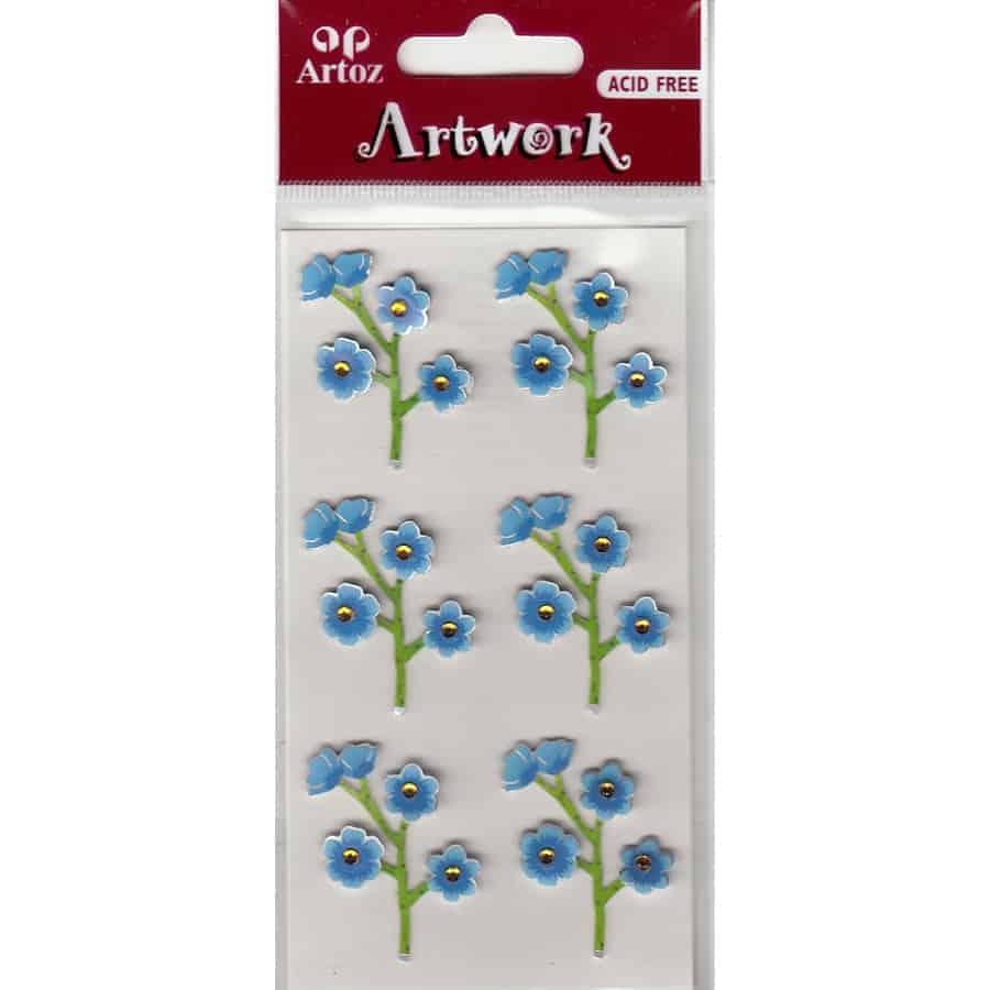 Blue Flowers Craft Embellishment By Artoz