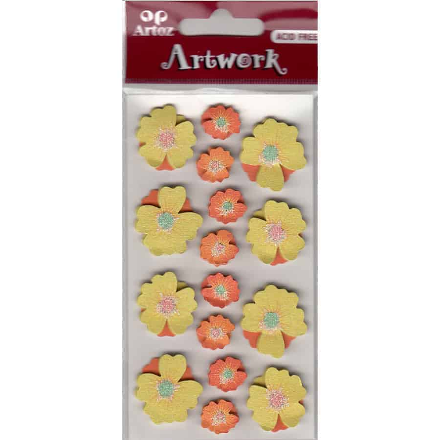 Orange Yellow Flowers Craft Embellishment By Artoz