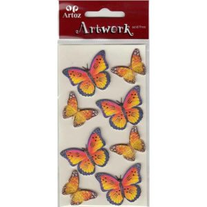 Gold Yellow Orange Butterflies Craft Embellishment By Artoz