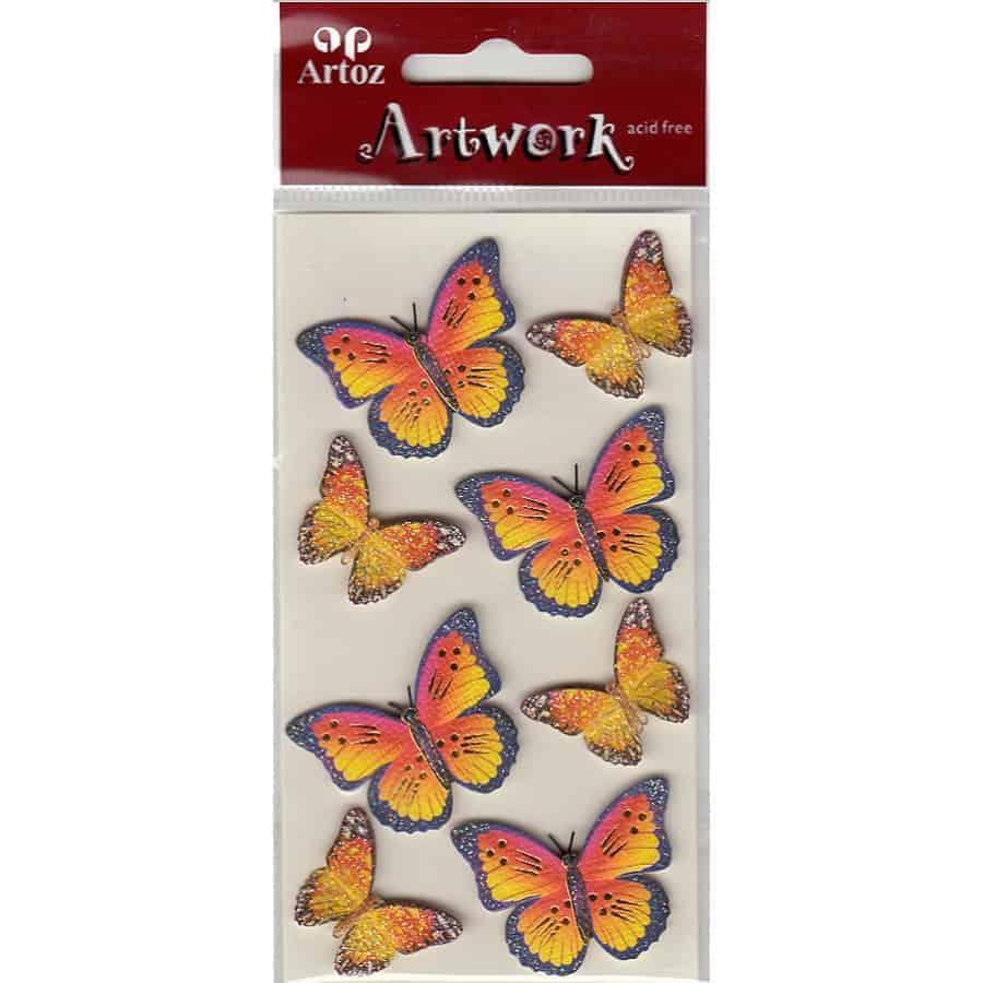 Gold Yellow Orange Butterflies Craft Embellishment By Artoz