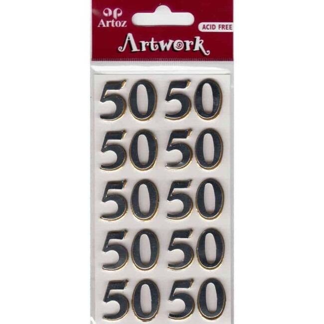 Number Fifty Craft Embellishment By Artoz