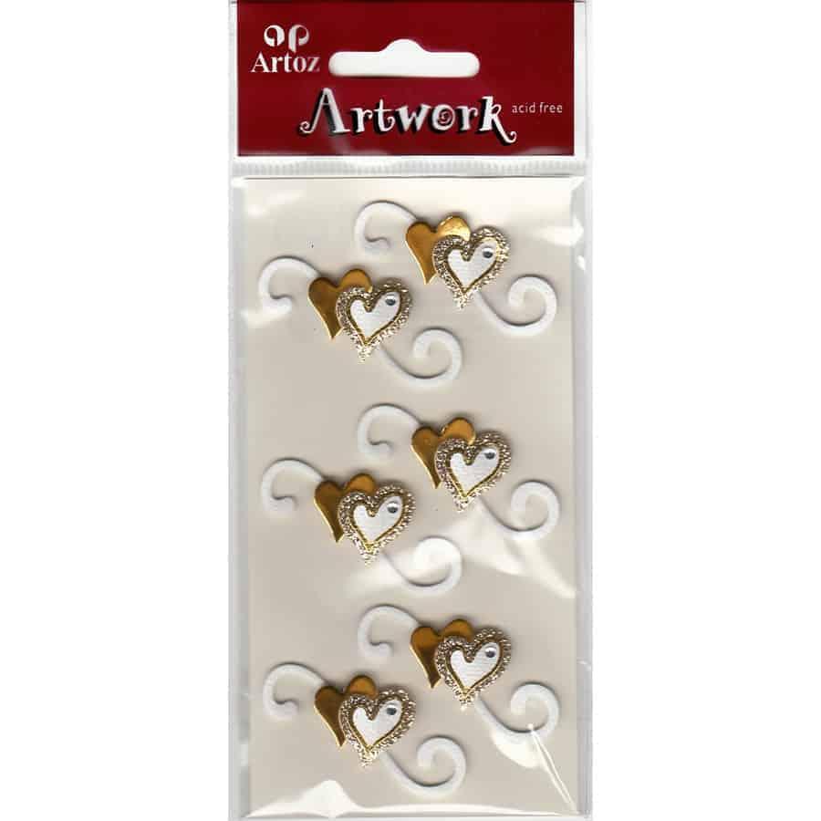 Gold Love Hearts Craft Embellishment By Artoz
