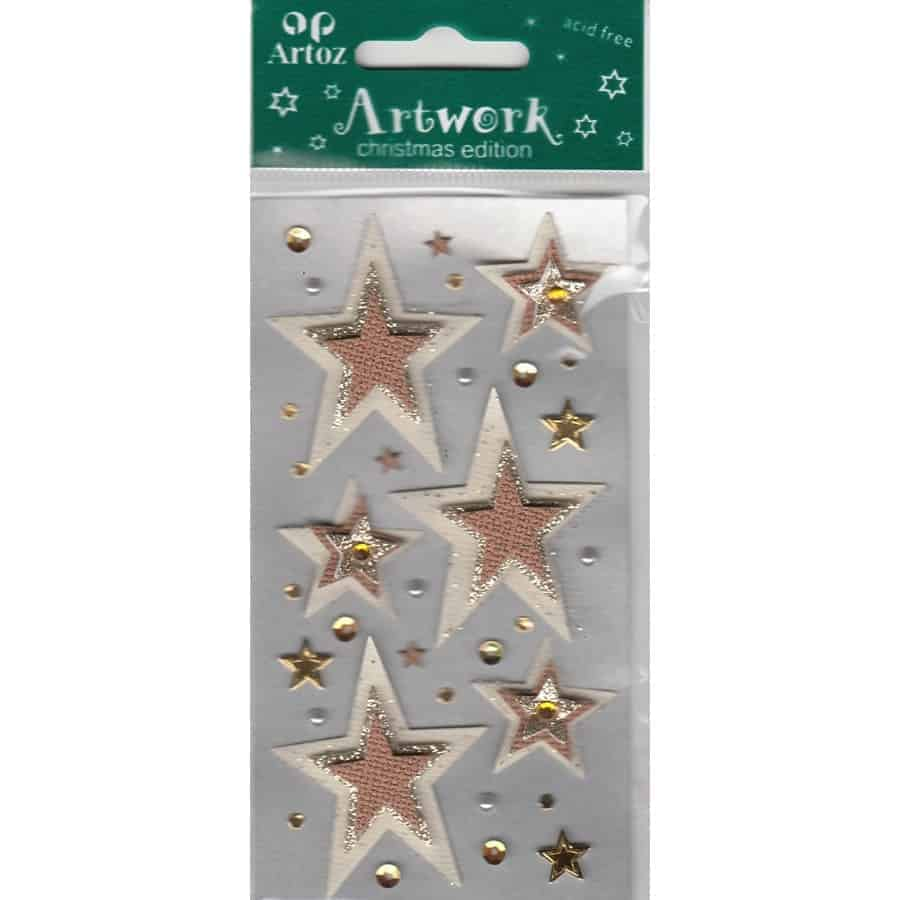 Brown Cream Glitter Stars Craft Embellishment By Artoz