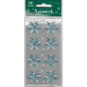 Blue Silver Glitter Stars Craft Embellishment By Artoz