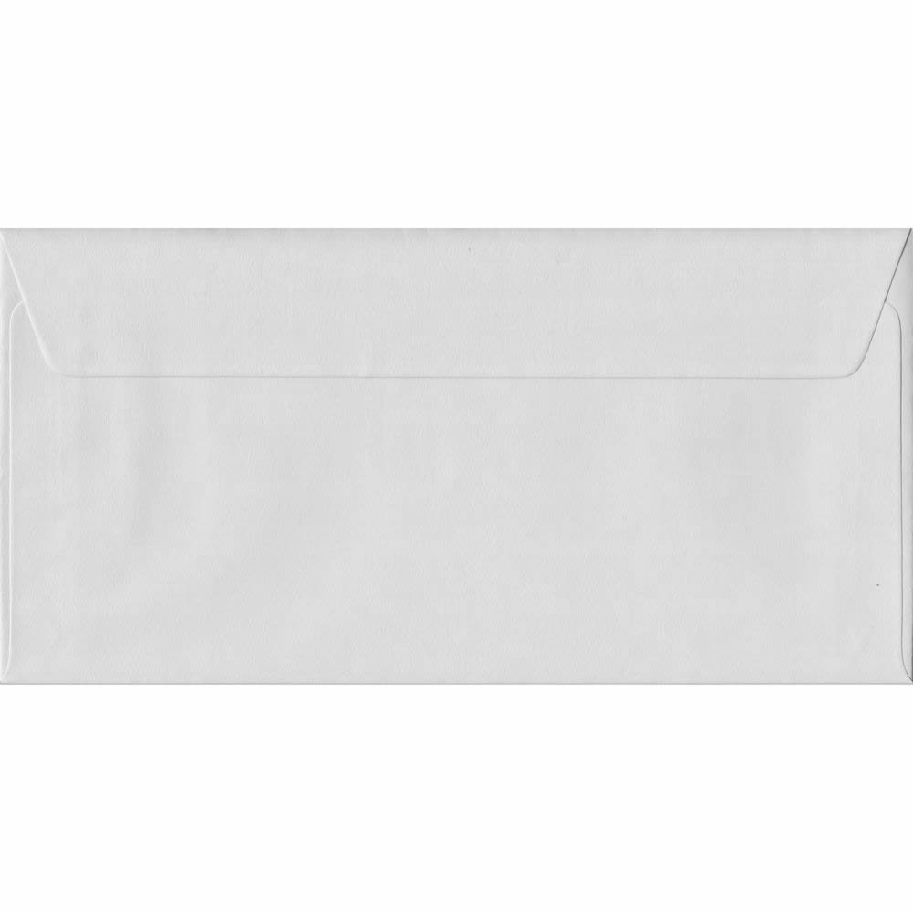 110mm x 220mm White Heavyweight 130gsm Envelope. DL/Tri-Fold A4 Peel/Seal 130gsm. Discount Pack Of 100.