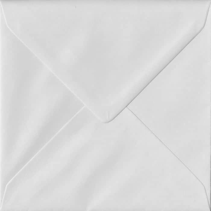 100 Square White Envelopes. White Heavyweight. 155mm x 155mm. 140gsm paper. Gummed Flap.