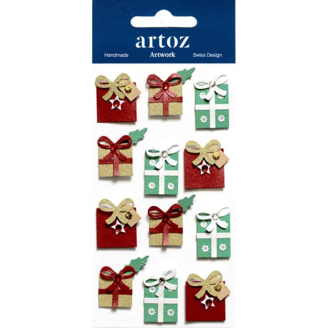 Multi Coloured Christmas Gift Boxes Craft Embellishment By Artoz