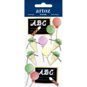 Childs Party Balloons And Blackboard Craft Embellishment By Artoz