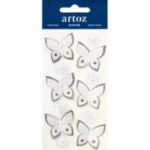 Cream Floral Butterflies Craft Embellishment By Artoz