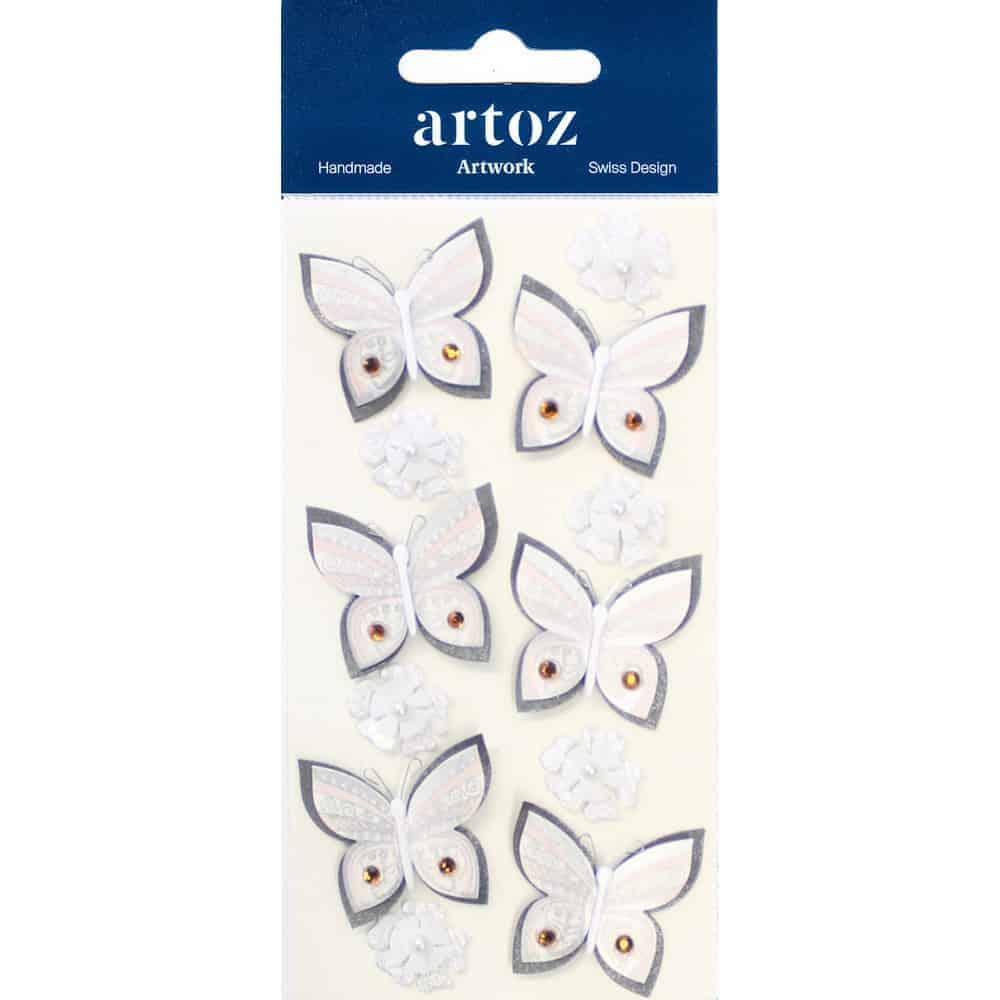 Cream Floral Butterflies Craft Embellishment By Artoz
