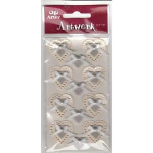 Cream Silver Wedding Hearts Bows Craft Embellishment By Artoz