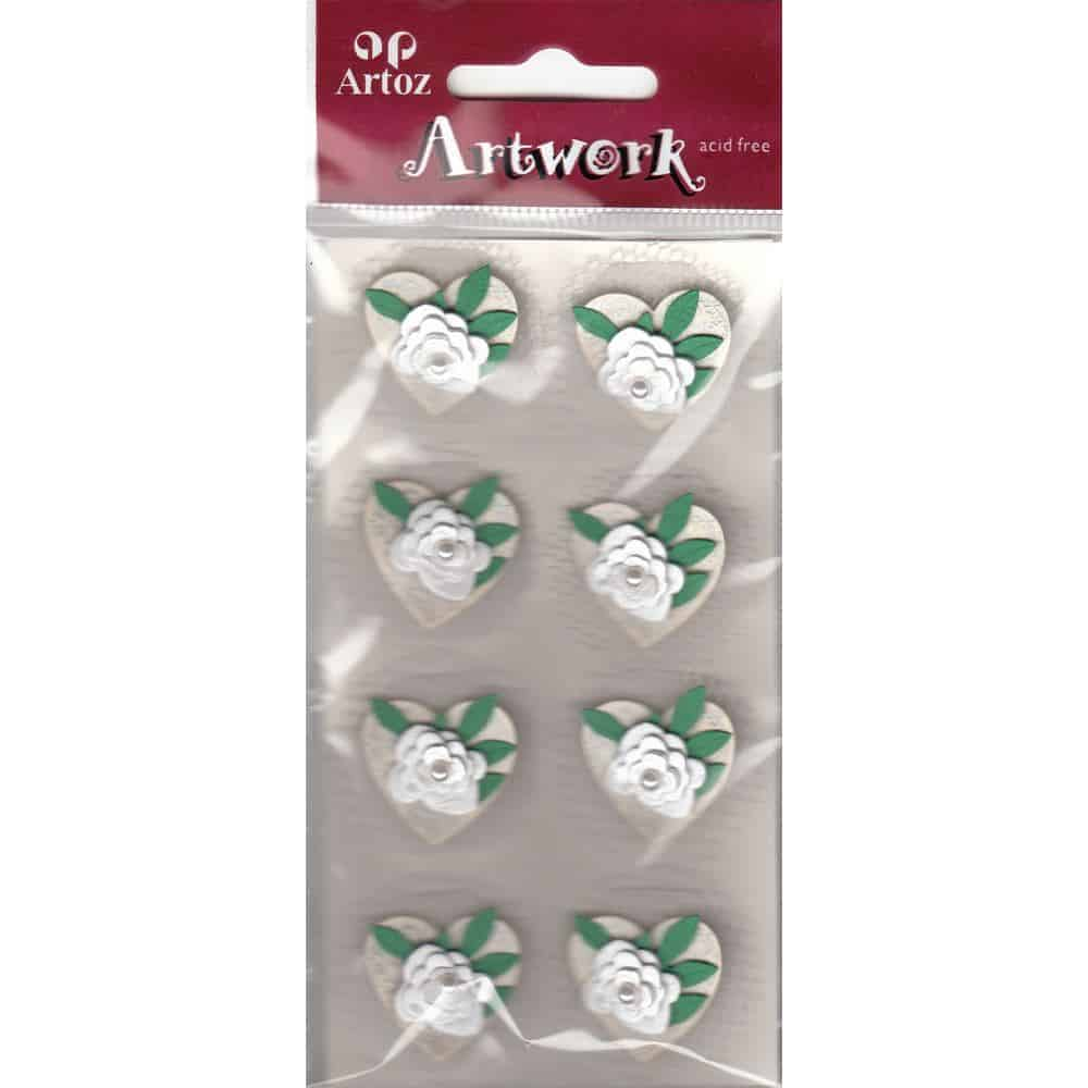 White Wedding Hearts And Pearl Craft Embellishment By Artoz