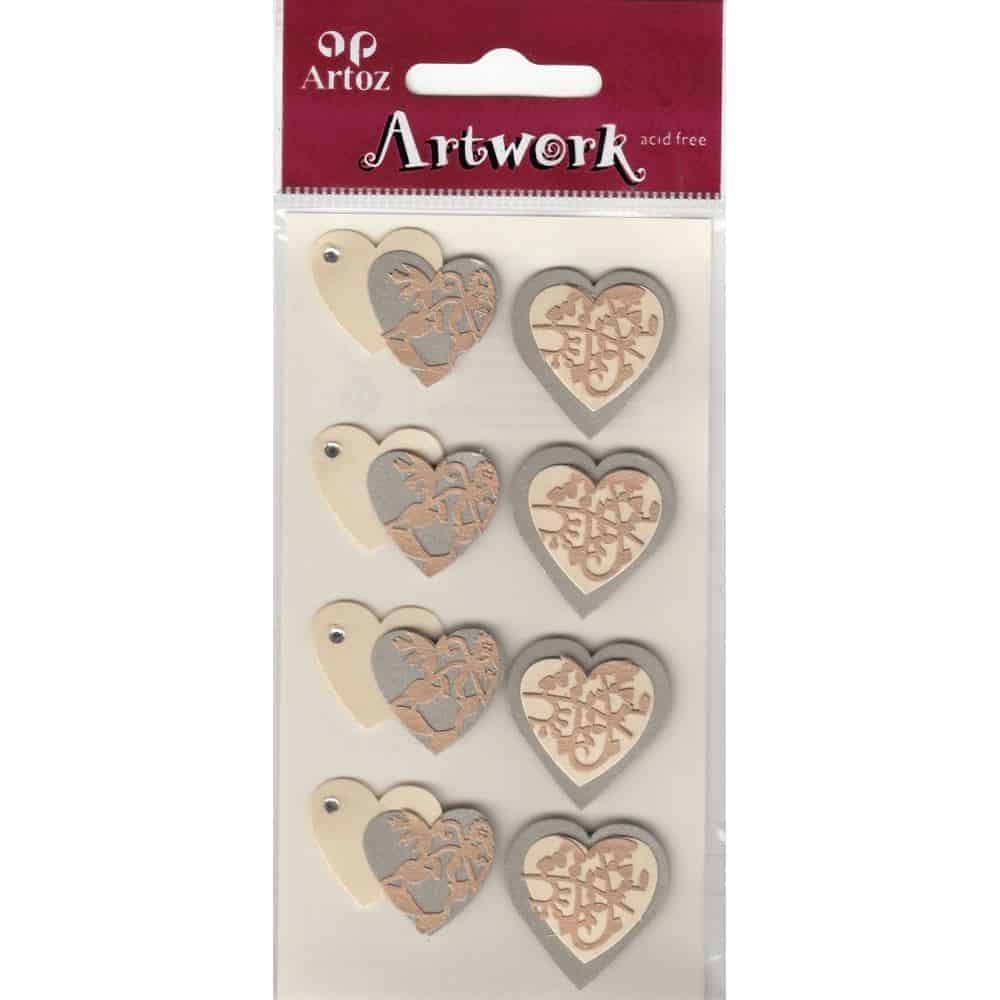 Double Patterned Wedding Hearts Craft Embellishment By Artoz