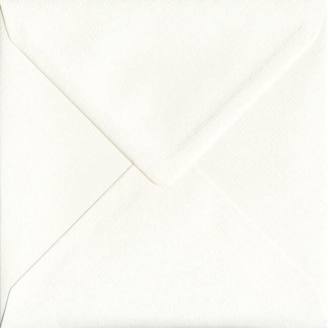 155mm x 155mm Antique Silk Textured Envelope. Square Envelopes Size. Gummed Flap. 100gsm Paper.
