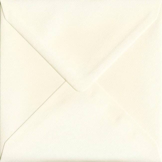 155mm x 155mm Magnolia Textured Envelope. Square Envelopes Size. Gummed Flap. 100gsm Paper.