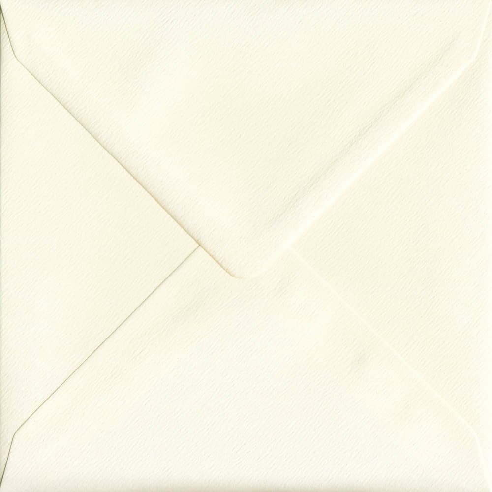 155mm x 155mm Magnolia Textured Envelope. Square Envelopes Size. Gummed Flap. 100gsm Paper.