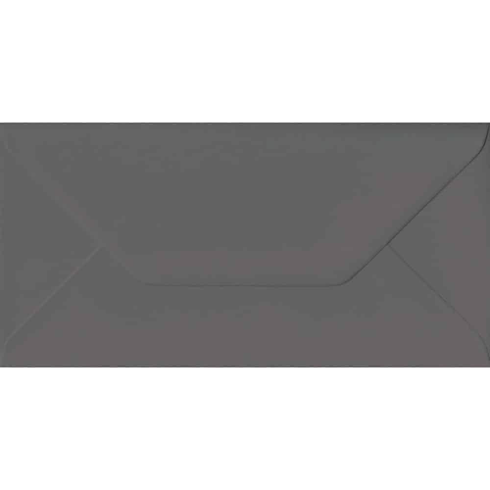110mm x 220mm Dark Grey Extra Thick Envelope. DL Envelopes Size. Gummed Flap. 135gsm Paper.