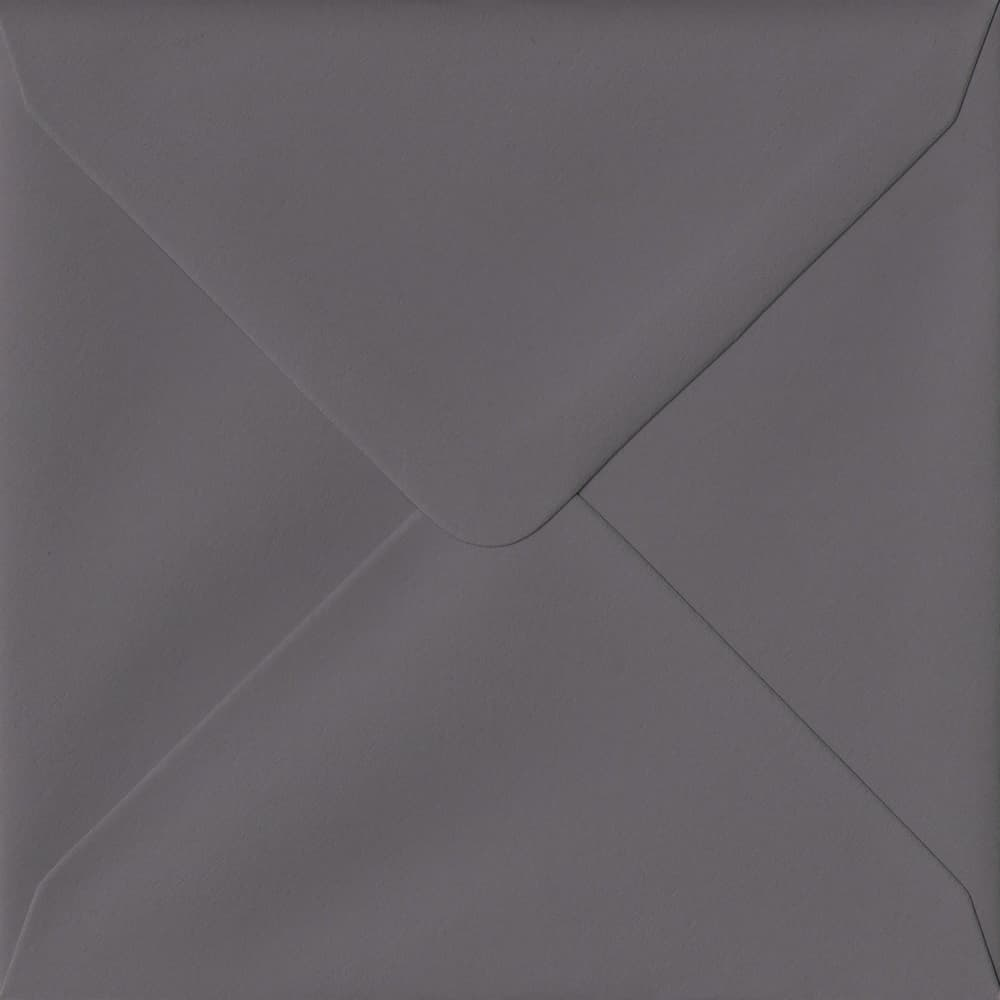 155mm x 155mm Dark Grey Extra Thick Envelope. Square Envelopes Size. Gummed Flap. 135gsm Paper.