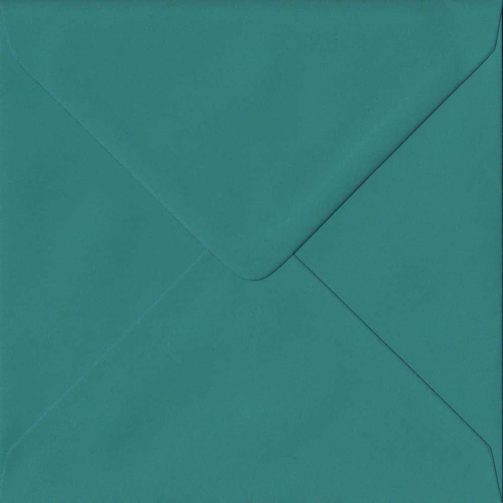 155mm x 155mm Teal Green Extra Thick Envelope. Square Envelopes Size. Gummed Flap. 135gsm Paper.