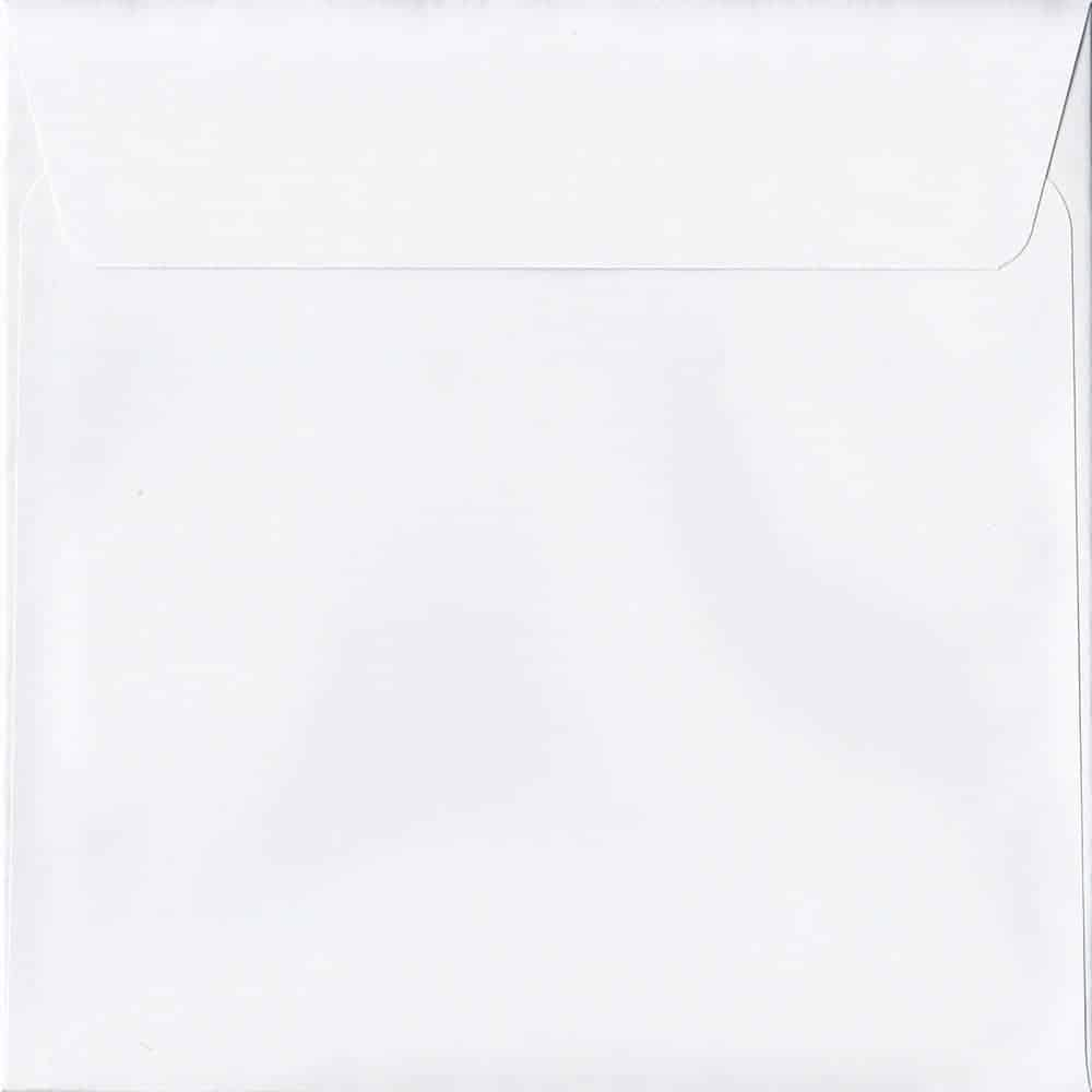 50 Large Square White Envelopes. Ice White. 220mm x 220mm. 120gsm paper. Peel/Seal Flap.