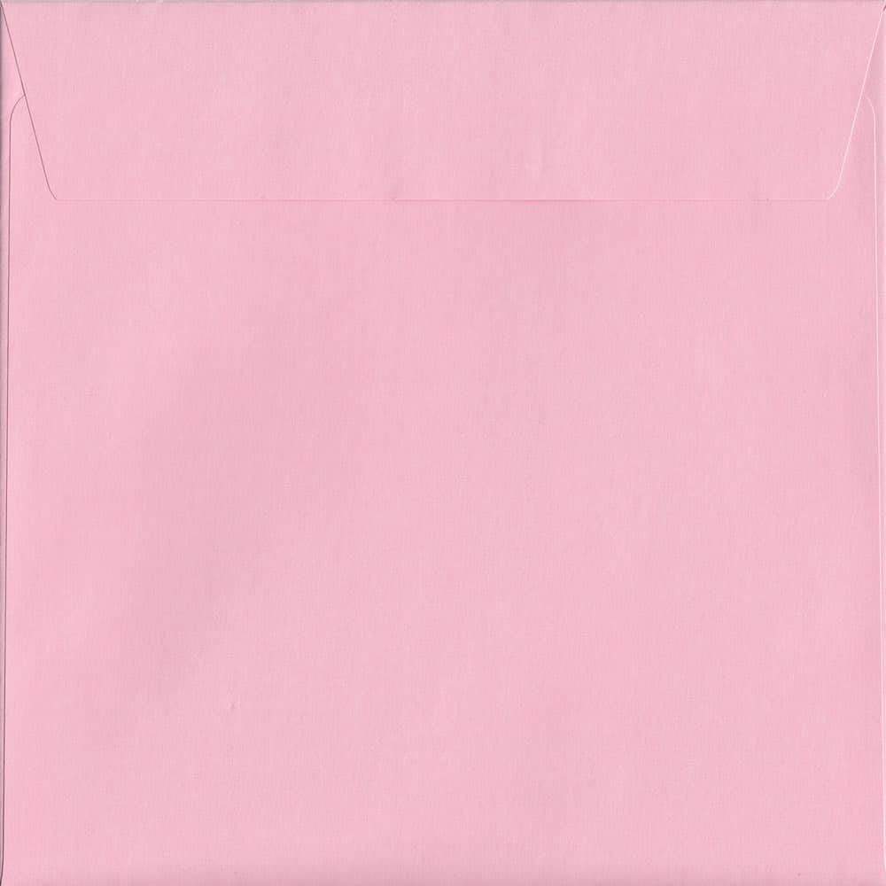 100 Square Pink Envelopes. Baby Pink. 160mm x 160mm. 120gsm paper. Peel/Seal Flap.