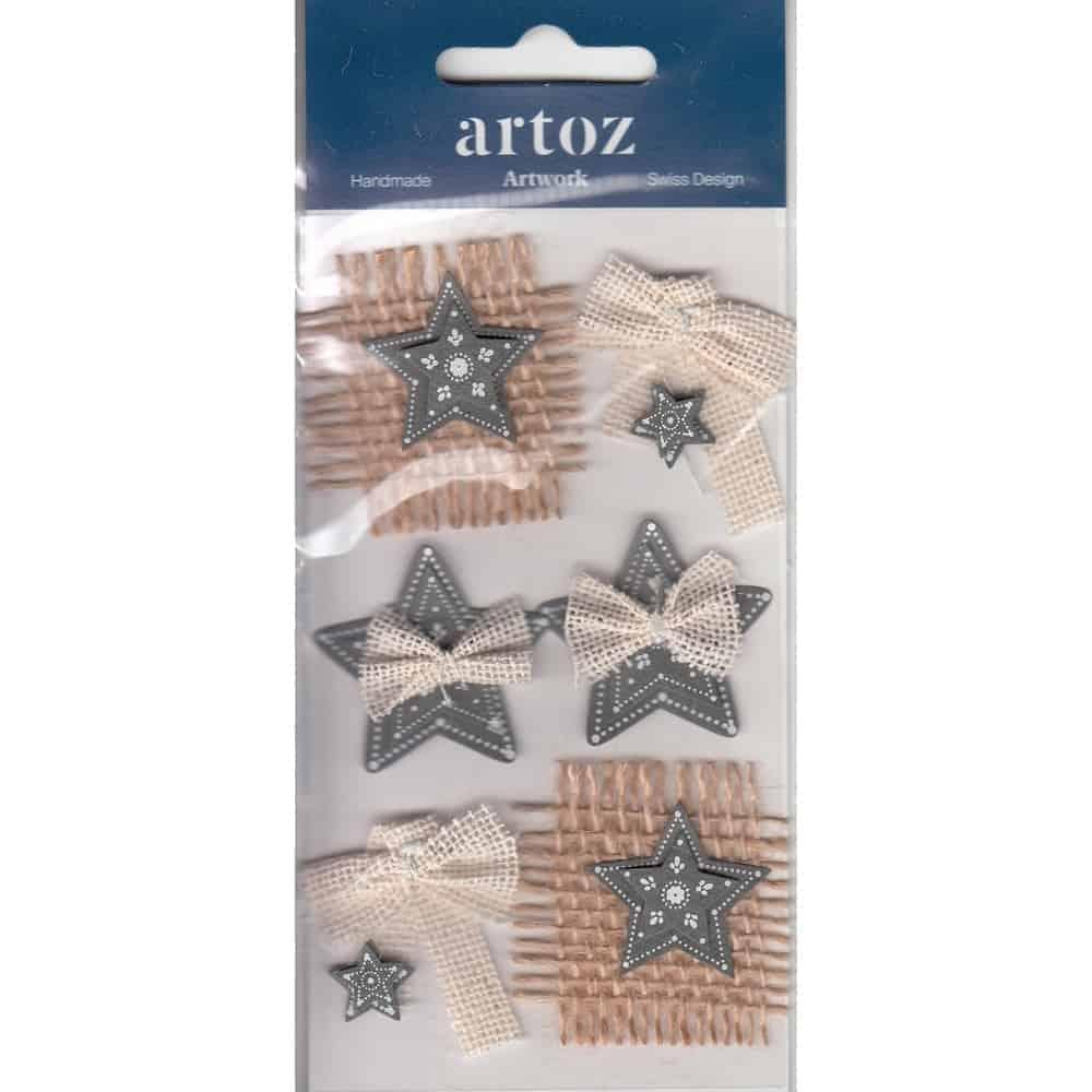 Christmas Stars & Bows Craft Embellishment By Artoz