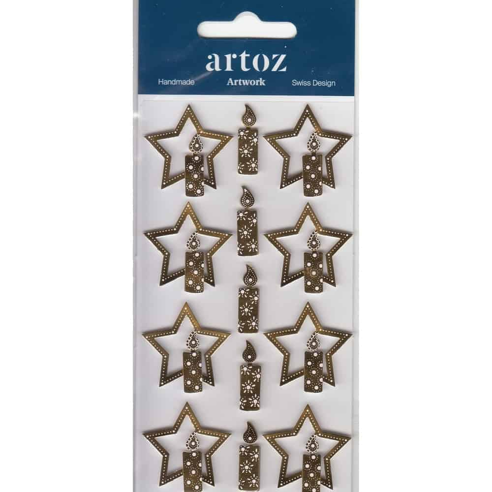 Gold Christmas Star & Candles Craft Embellishment By Artoz