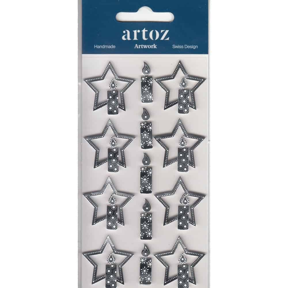 Silver Christmas Star & Candles Craft Embellishment By Artoz