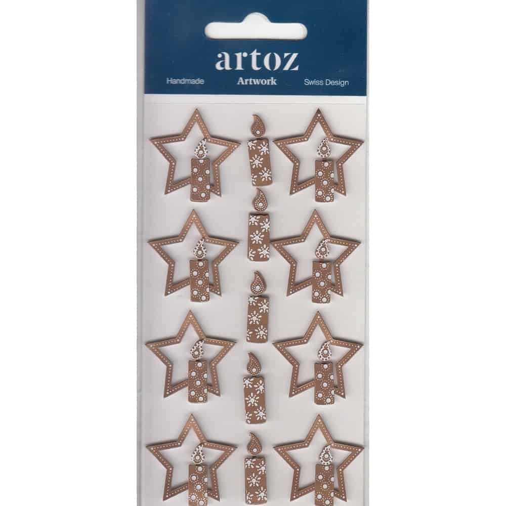 Bronze Christmas Star & Candles Craft Embellishment By Artoz