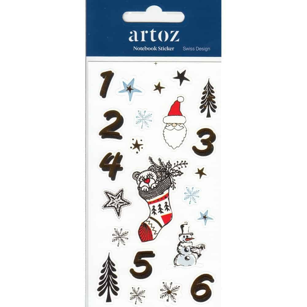 Christmas Advent Calender (Day 1-6) Self Adhesive Stickers By Artoz