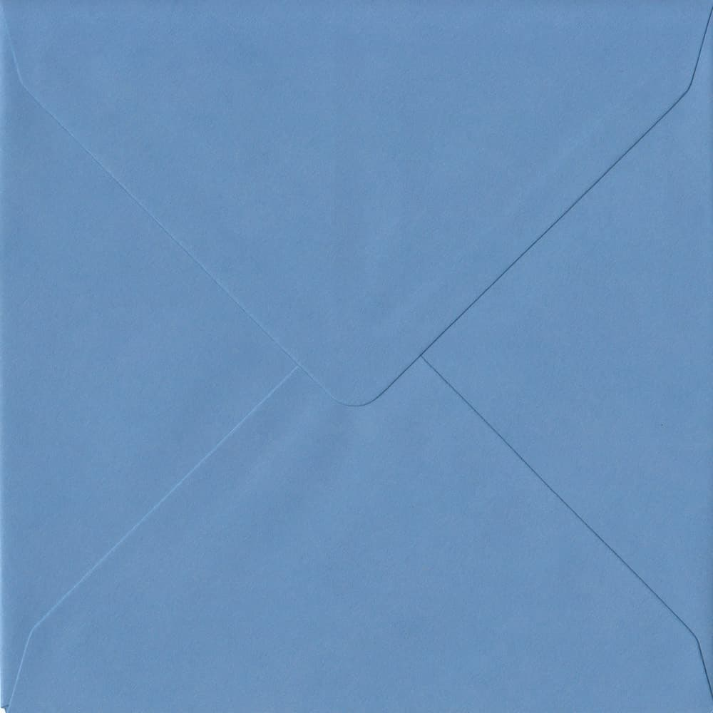 155mm x 155mm China Blue Top Quality Envelope. Square Envelopes Size. Gummed Flap. 100gsm Paper.