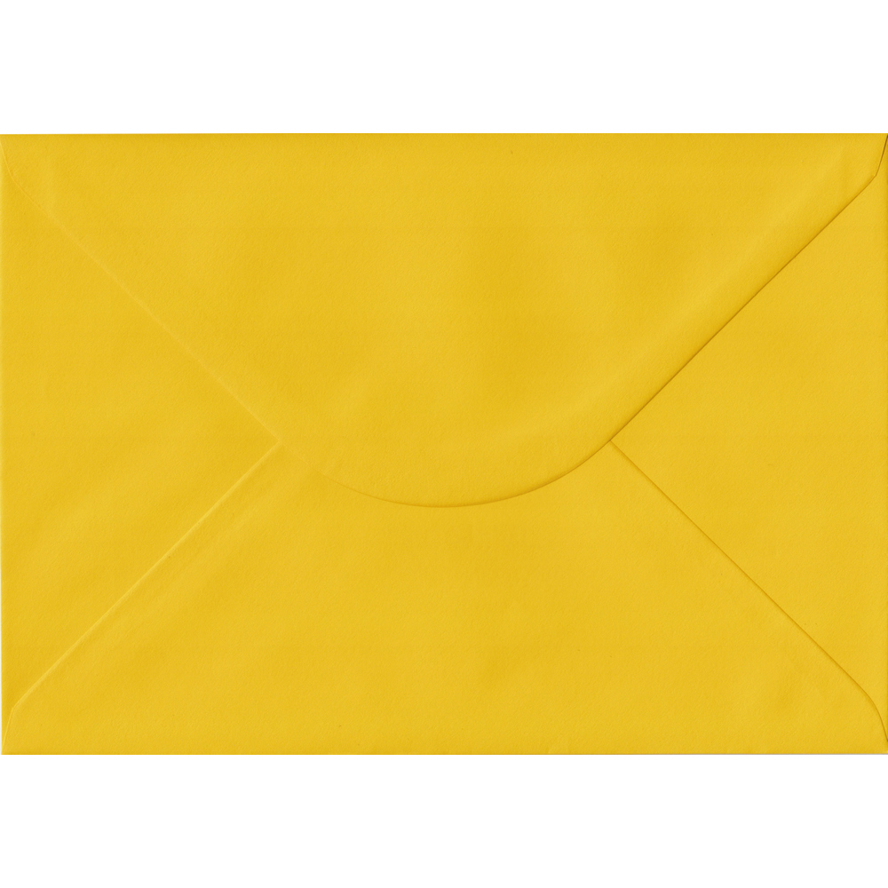100 A5 Yellow Envelopes. Sunflower Yellow. 162mm x 229mm. 100gsm paper. Gummed Flap.