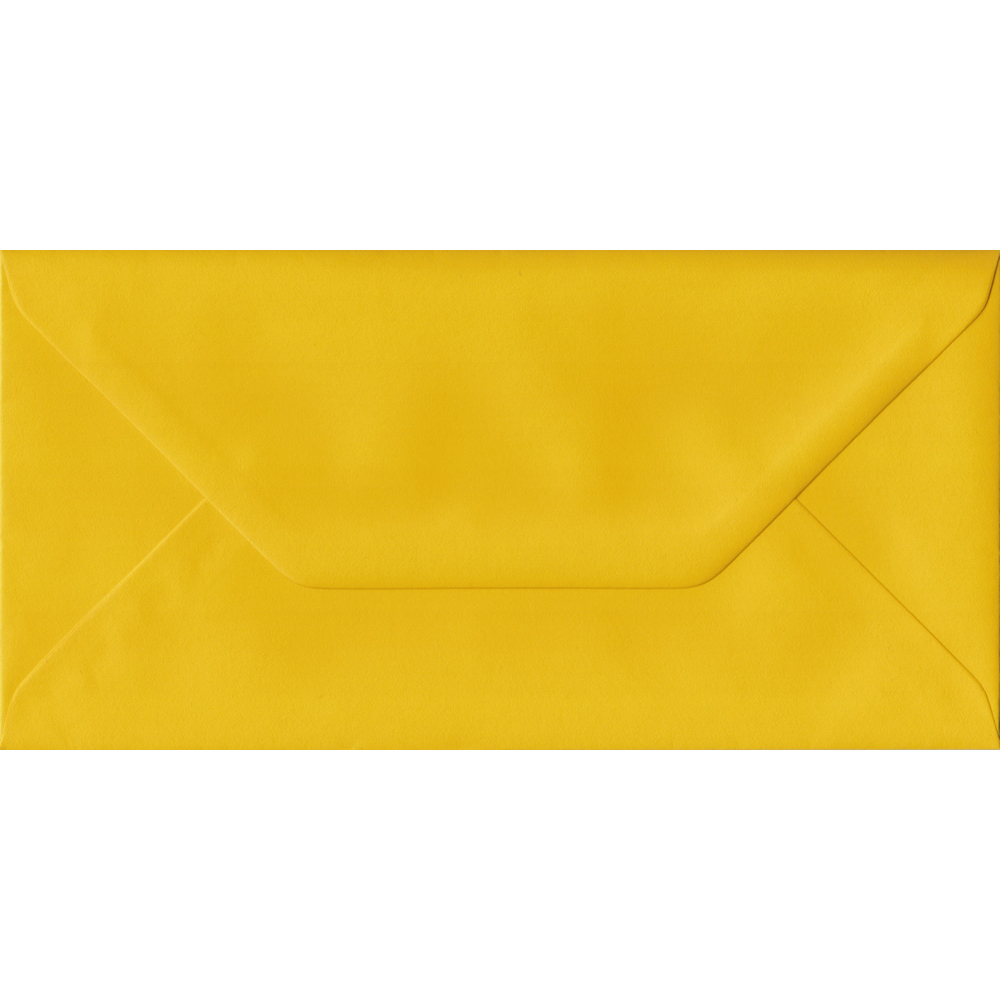 100 DL Yellow Envelopes. Sunflower Yellow. 110mm x 220mm. 100gsm paper. Gummed Flap.