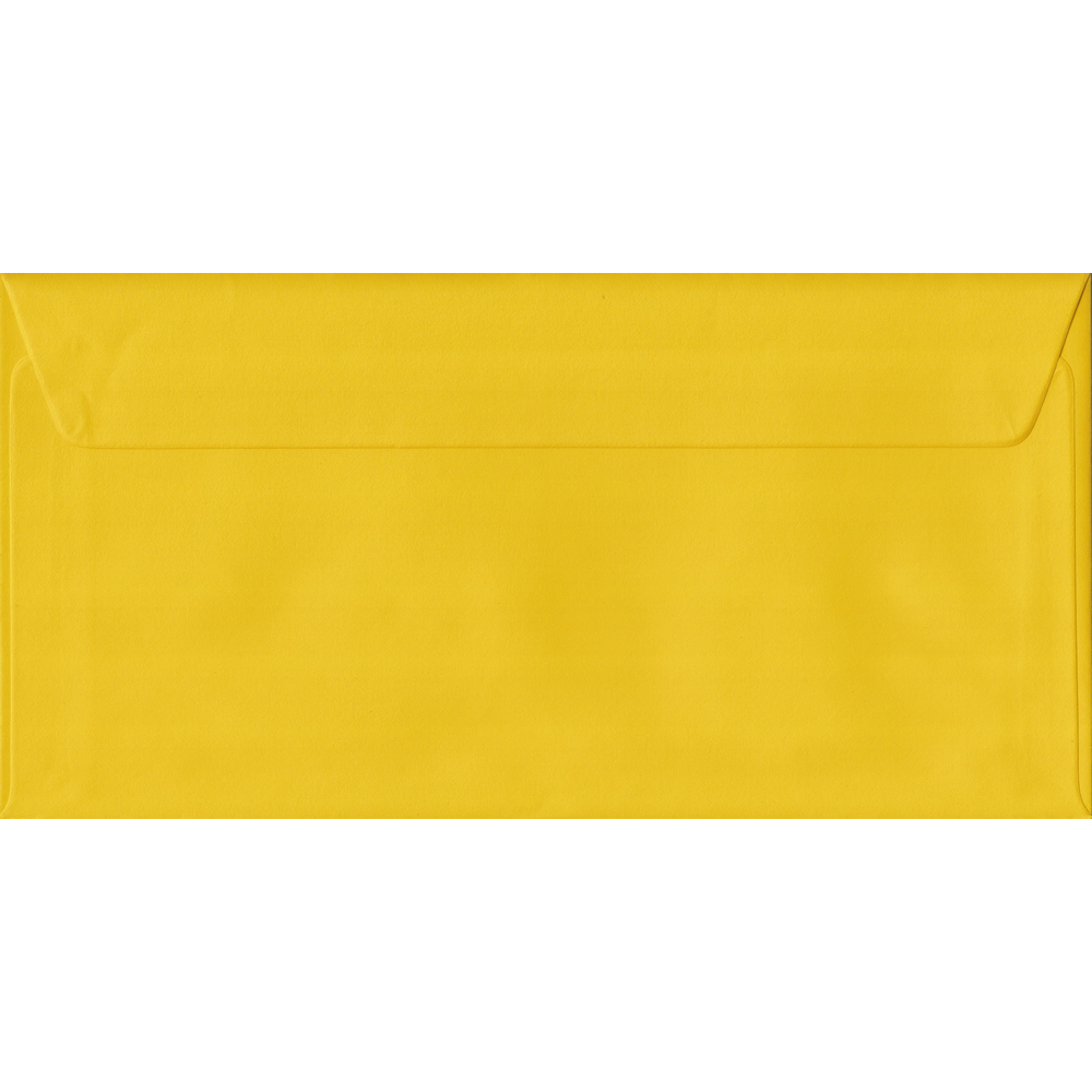 100 DL Yellow Envelopes. Sunflower Yellow. 110mm x 220mm. 100gsm paper. Peel/Seal Flap.