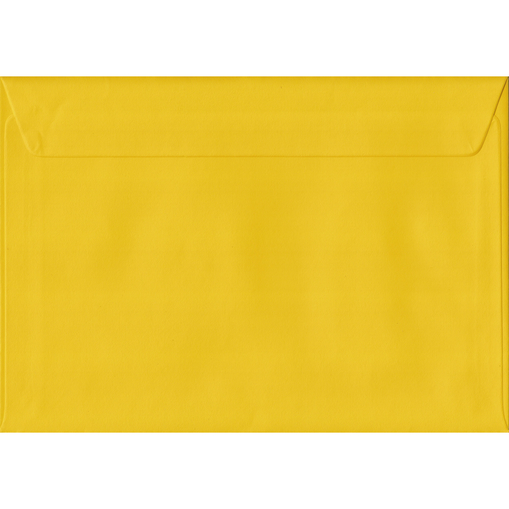 100 A5 Yellow Envelopes. Sunflower Yellow. 162mm x 229mm. 100gsm paper. Peel/Seal Flap.